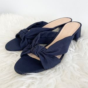 JCrew Knotted Slides in Silk Faille Blue Sandal